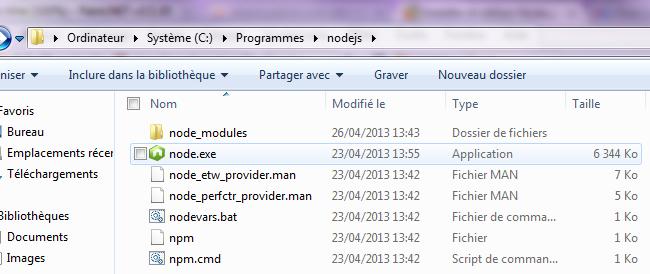 Installer et utiliser Node js sous Windows